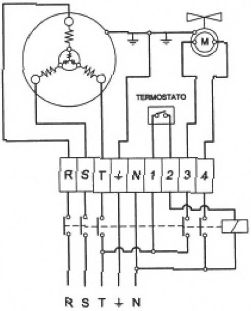 Схема электрическая подключения двигателя компрессора - 3 фазы.
