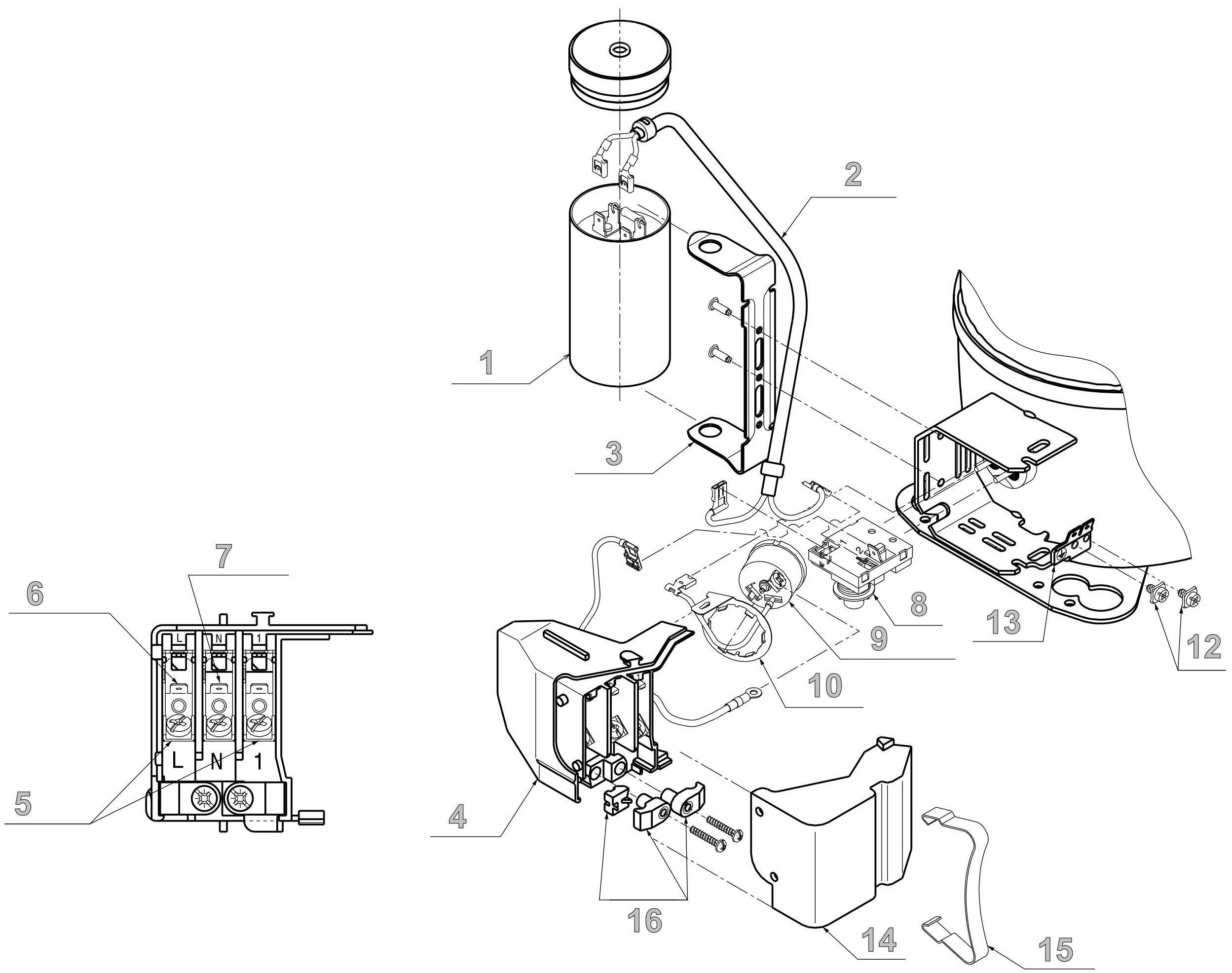 Электрический узел компрессоров Cubigel - конфигурация до 2005 г.
