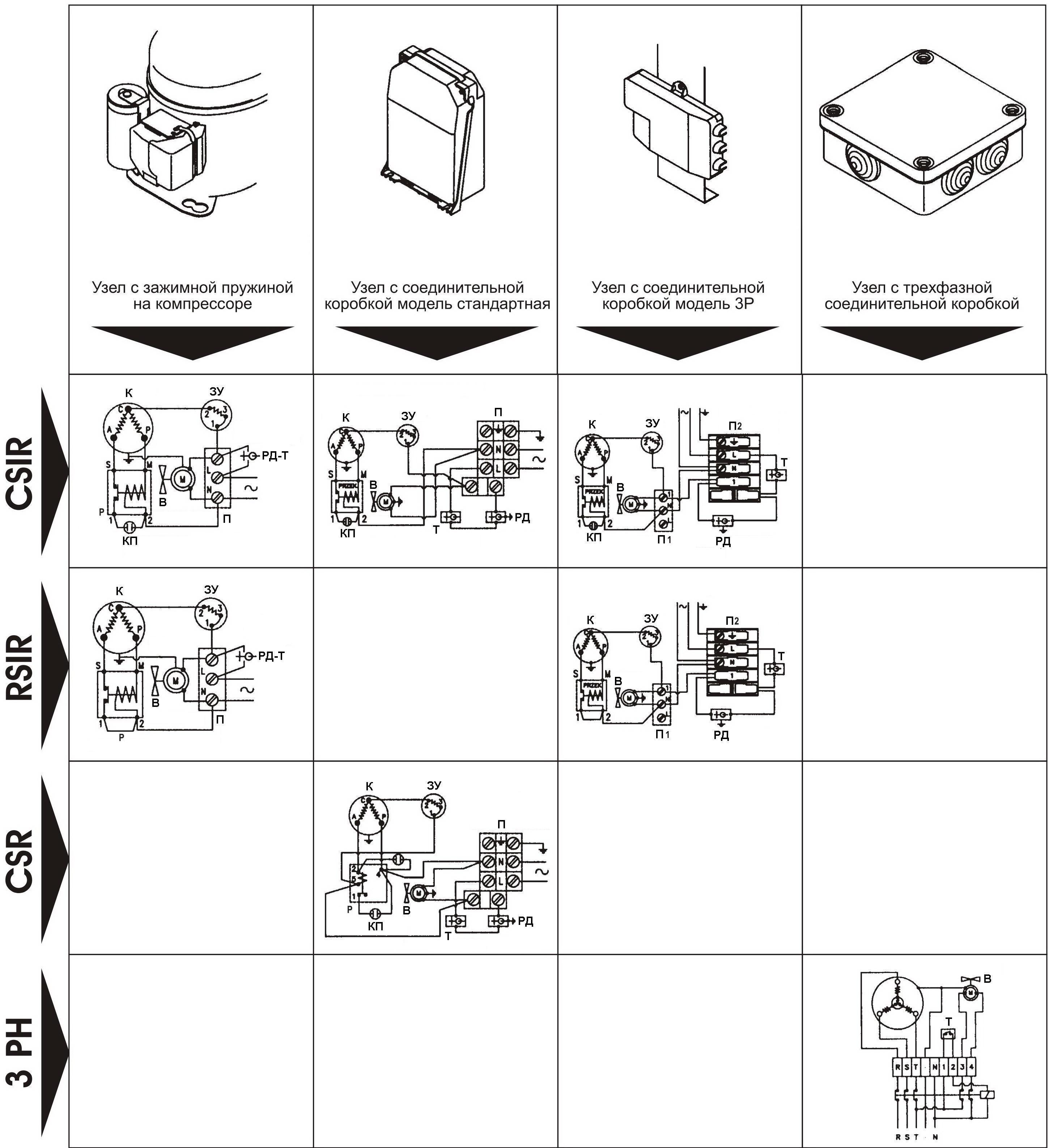 Схема электрическая подключения двигателя компрессора