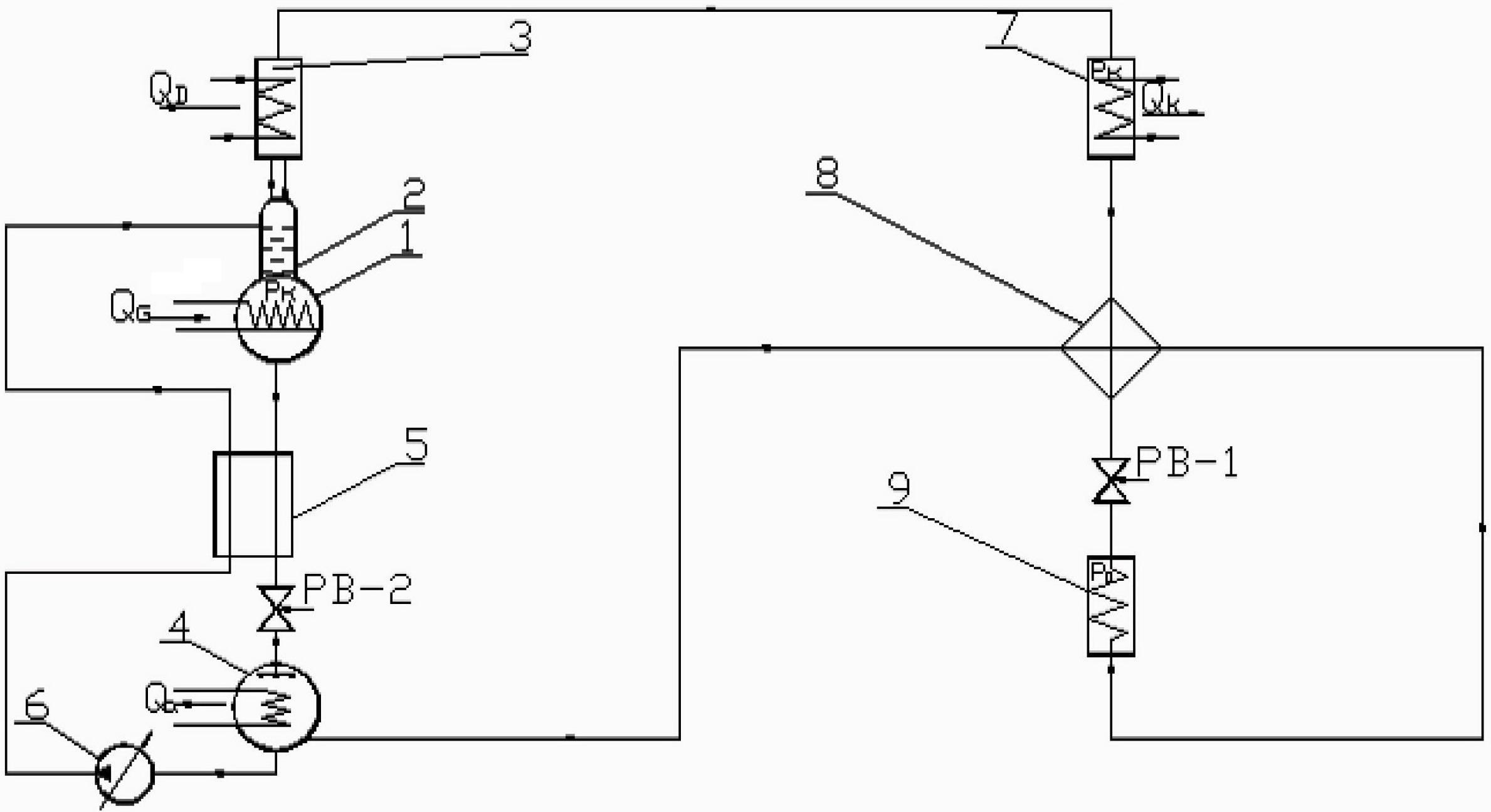 Рис. 1. Схема АВХМ с двумя регенеративными теплообменниками