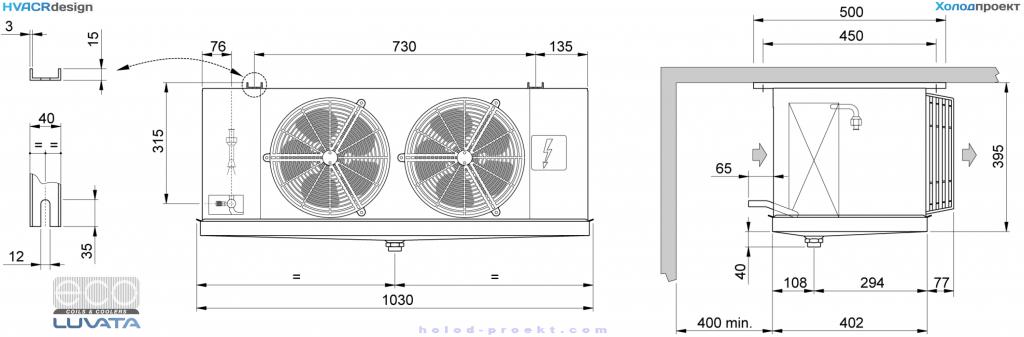 Охладитель-воздуха-ECO-CTE-58M6-ED-Габаритные-и-присоединительные-размеры