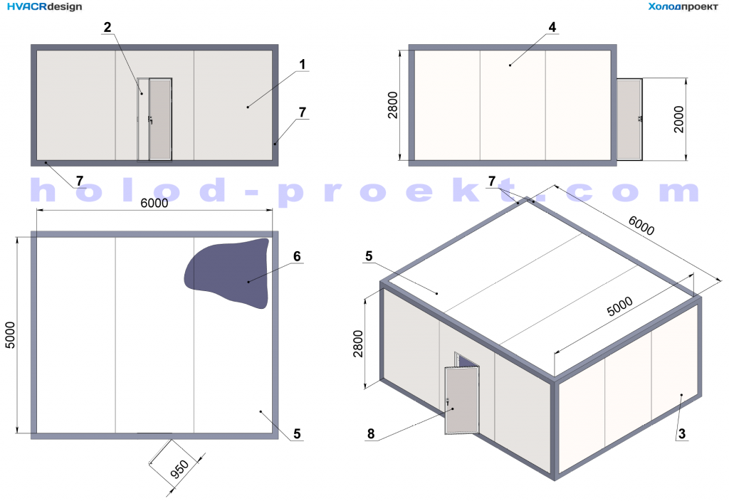Construction and basic dimensions of cooling chambers