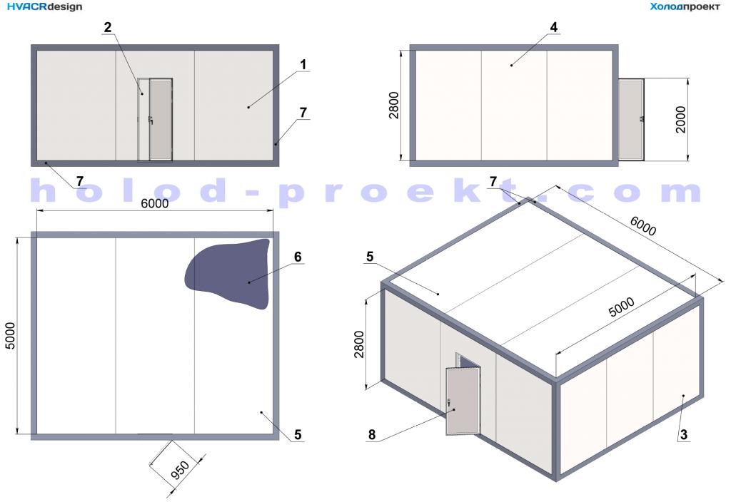 Холодильные камеры - Основные размеры и конструкция