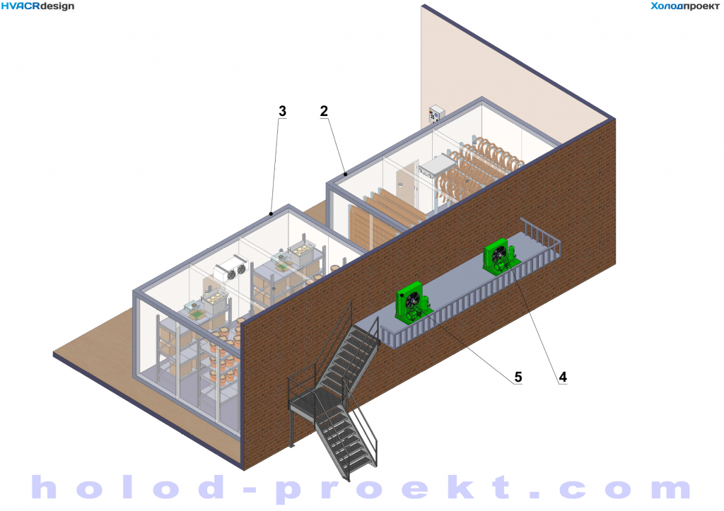General layout of provision refrigerating storerooms - Outside view