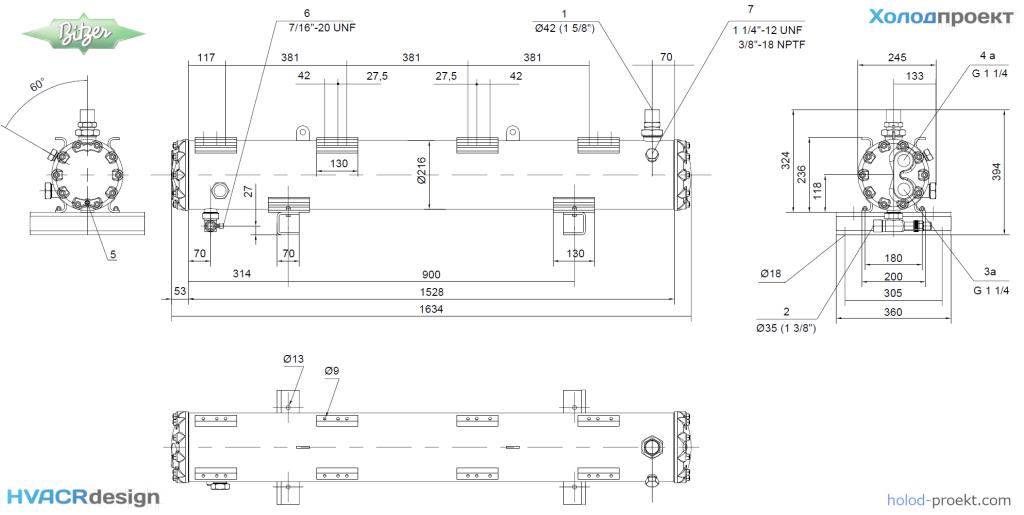 Габаритные и присоединительные размеры конденсатора кожухотрубного Bitzer K1353T