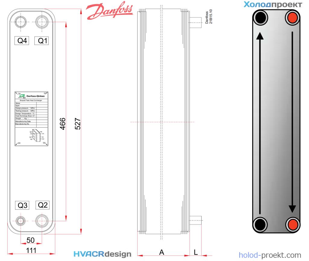 Габаритные и присоединительные размеры испарителя пластинчатого Danfoss B3-052-90