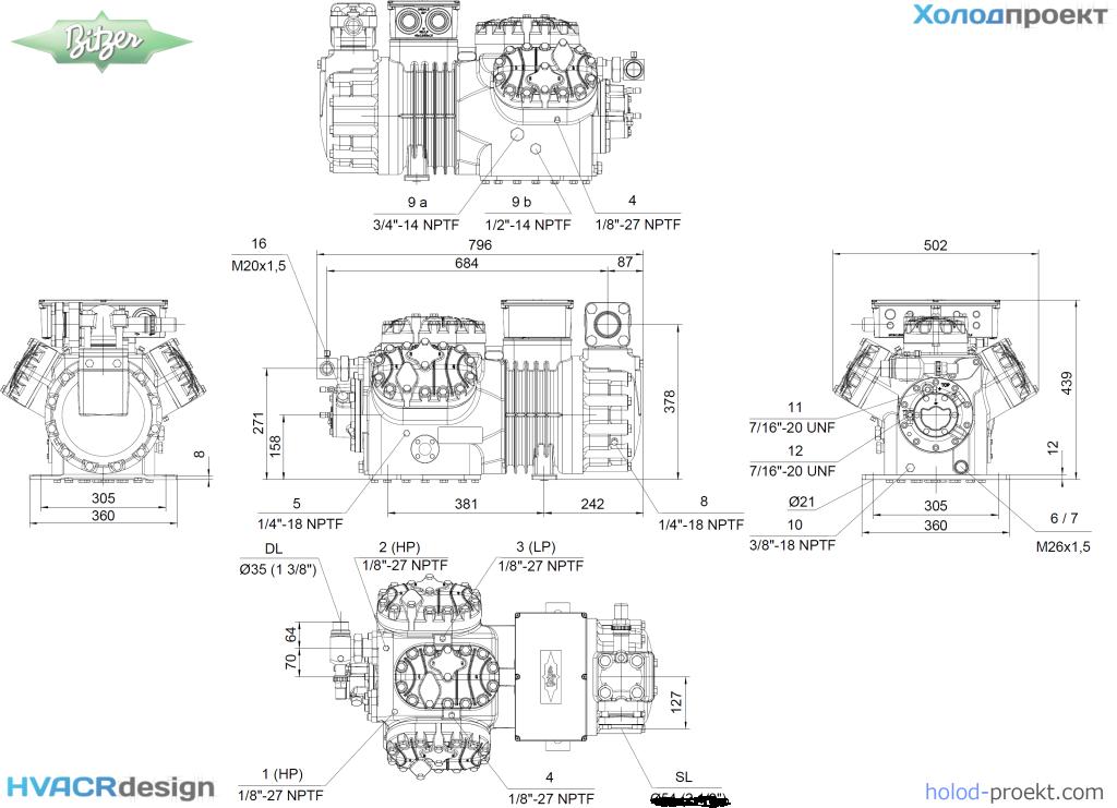 Габаритные и присоединительные размеры компрессора поршневго полугерметичного Bitzer 6JE-33Y-40P