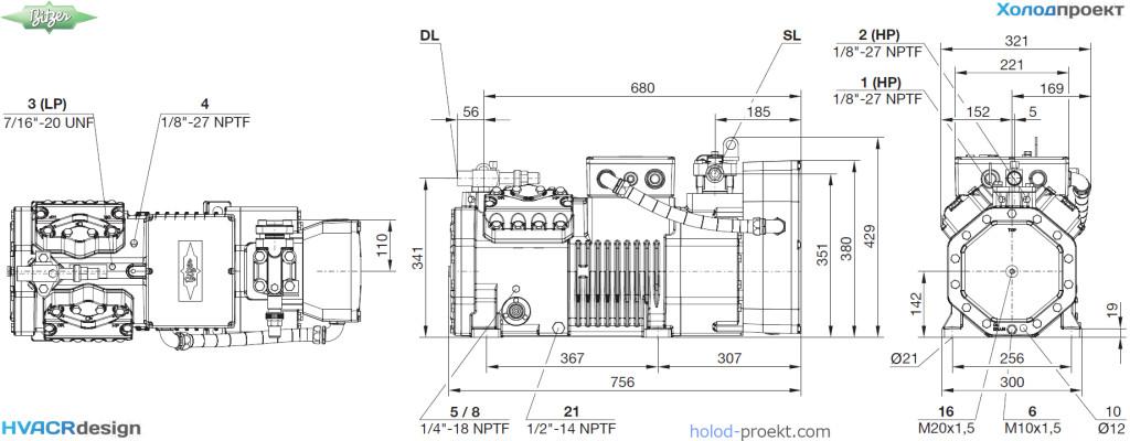 Компрессор Bitzer 4NE-20.F4Y. Габаритные и присоединительные размеры.