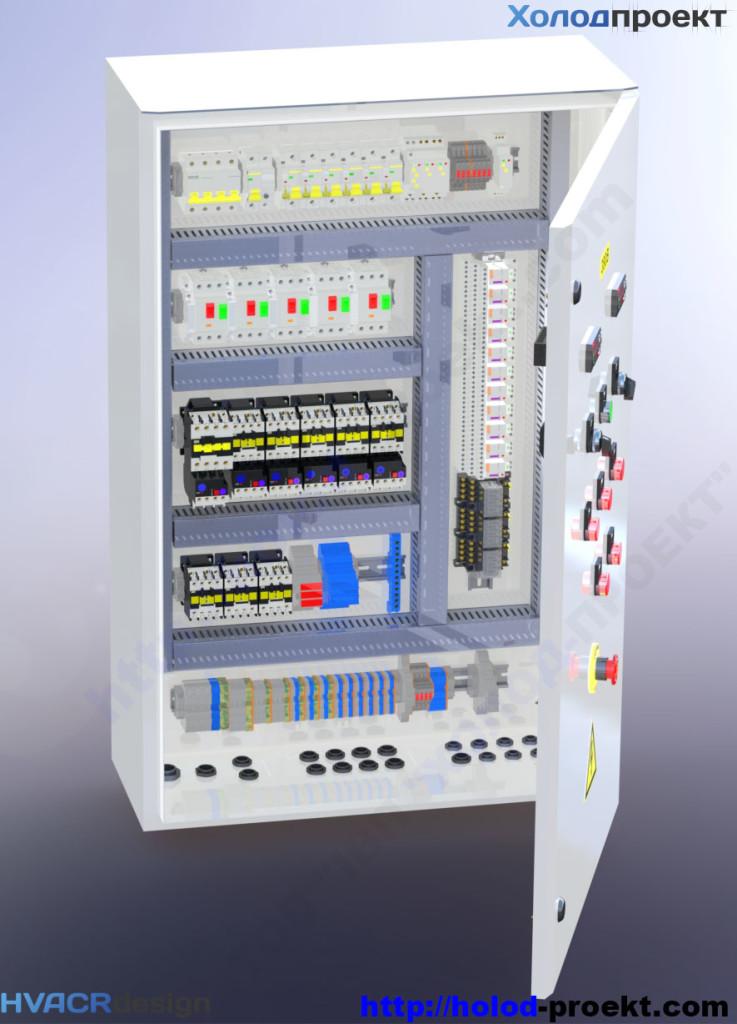 Щит управления холодильной установки - 3D модель. Вид с открытой дверью