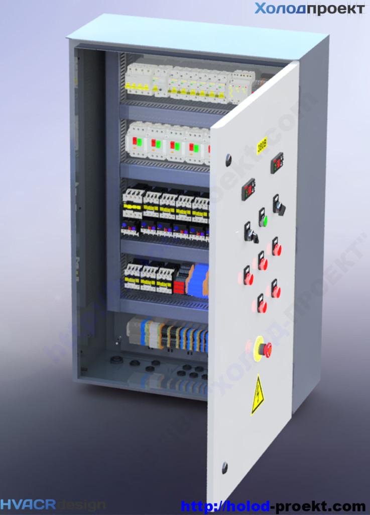 Рисунок 4. Щит управления холодильной установки – 3D модель. Вид с открытой дверью, алтернативный ракурс