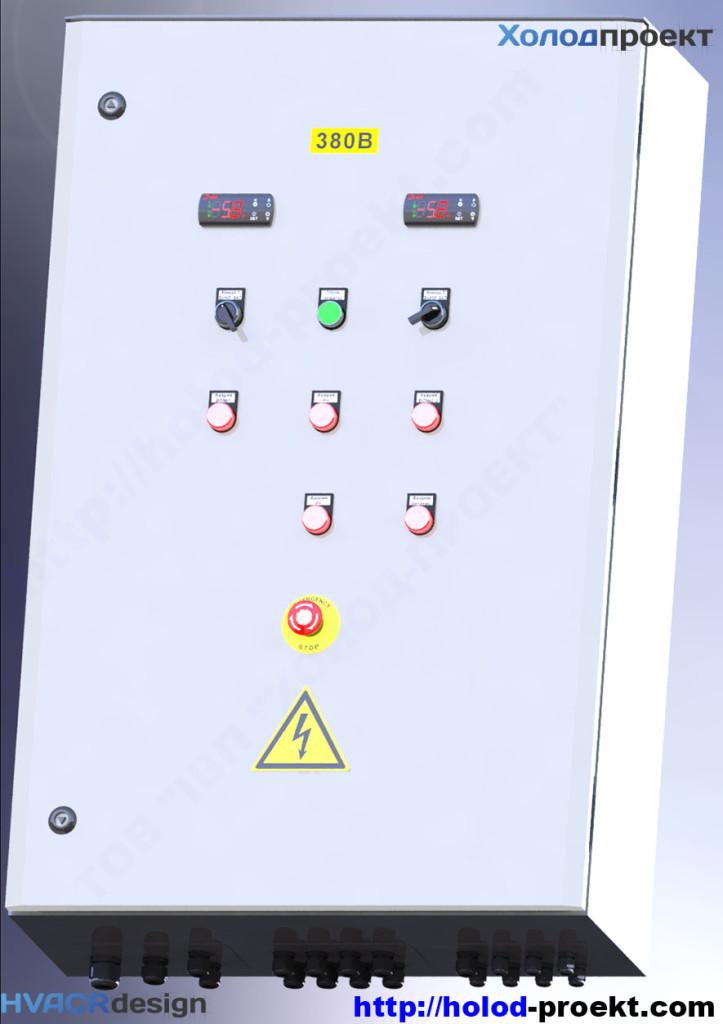 Рисунок 3. Щит управления холодильной установки - 3D модель. Вид с закрытой дверью, направление обзора - снизу
