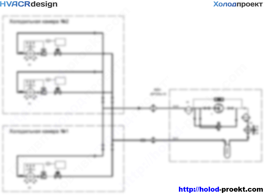 Схема газогидравлическая холодильной установки продовольственных кладовых
